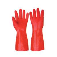 天鵝絨紅磨砂浸膠涂層手套